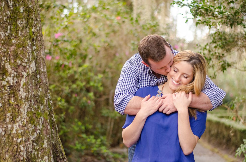 Couple at Magnolia Plantation in Charleston, SC during their engagement photography session