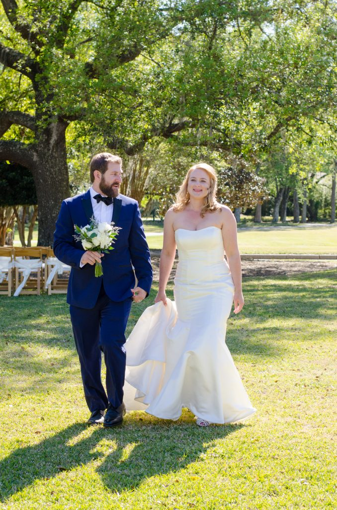 Bride and groom at their Snee Farm Country Club wedding in Mount Pleasant SC