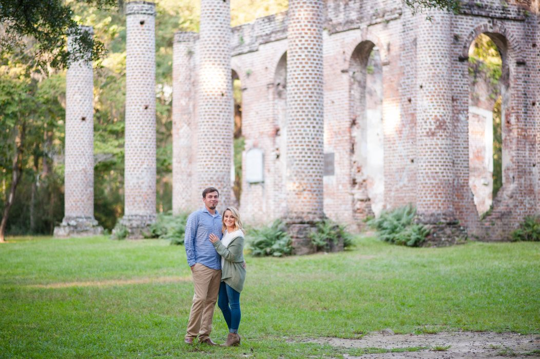 Engagement photos at Old Sheldon Church Ruins in South Carolina