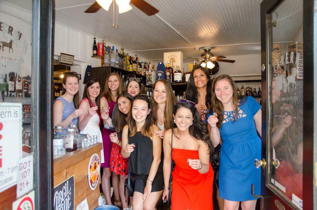 Bachelorette weekend in Charleston, SC moonshine tasting