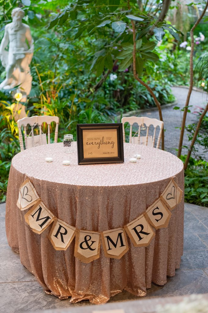 Bride and groom table at a Magnolia Plantation Conservatory wedding