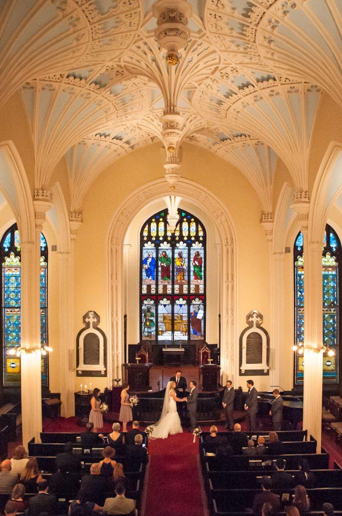 Bride and Groom at altar during Unitarian church Wedding Charleston SC