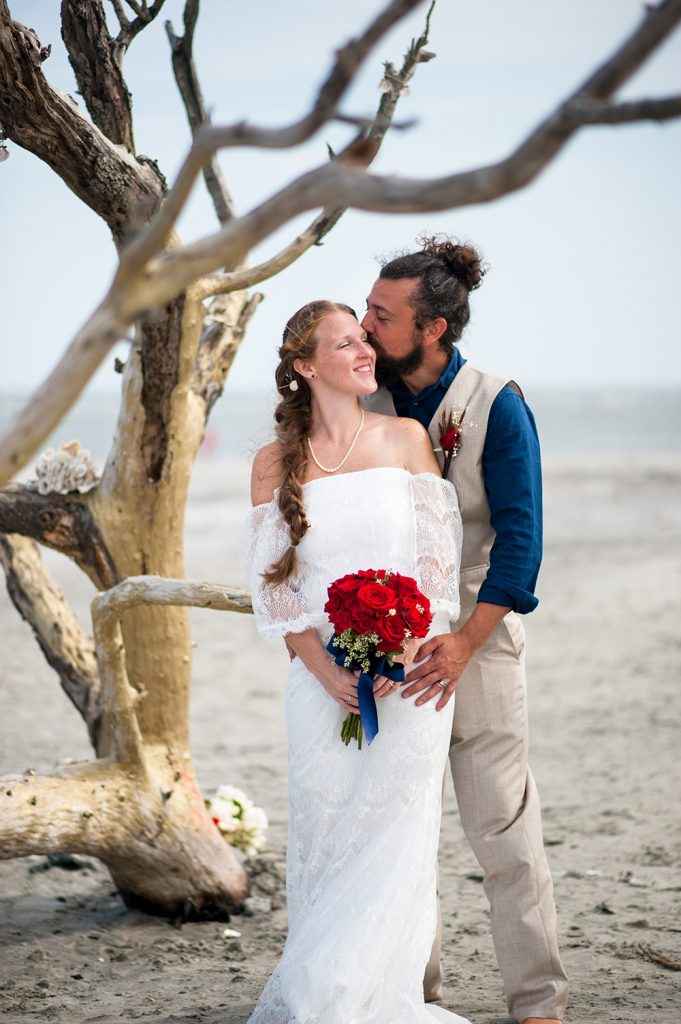 Folly Beach County Park Wedding Elopement bride and groom
