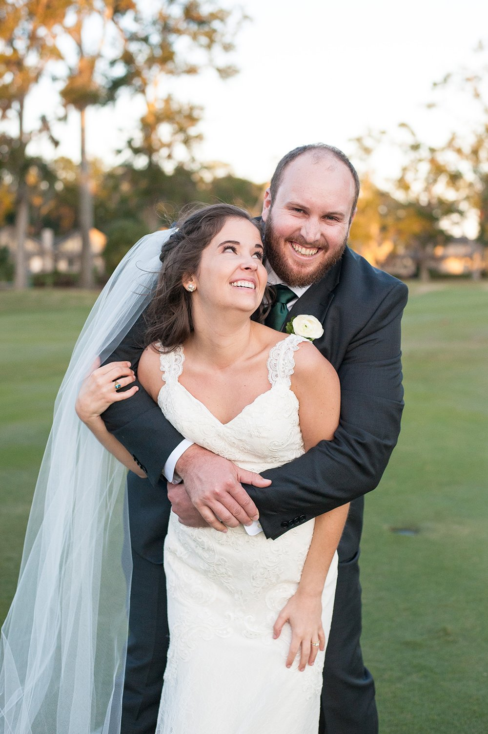Bride and Groom portrait at Dataw Island Club Wedding near Beaufort, SC