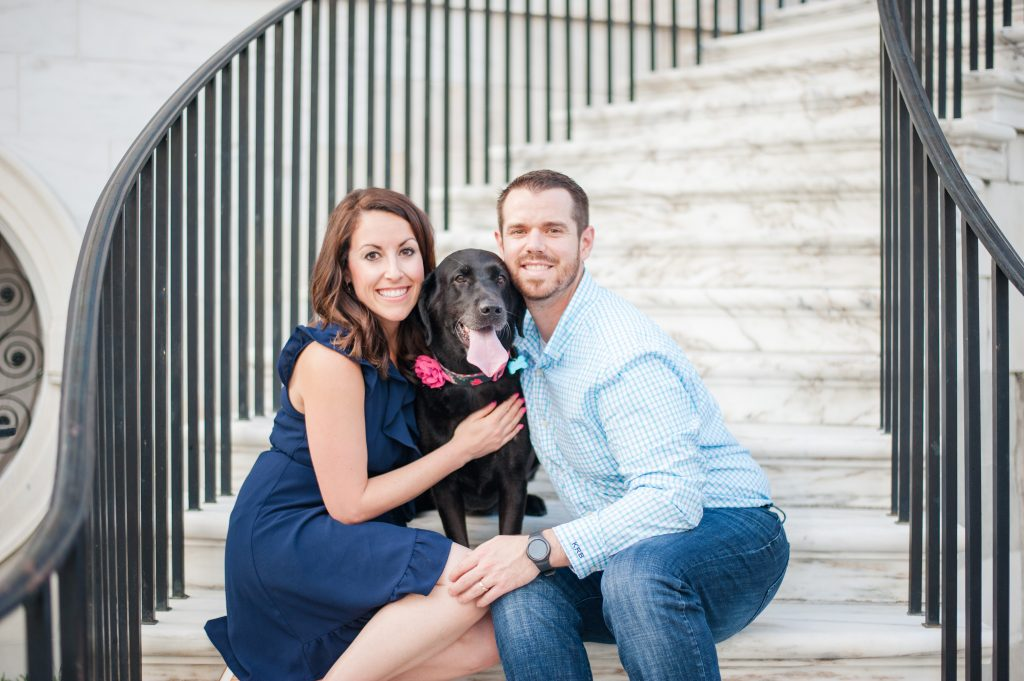 Downtown Charleston Couples Session with dog