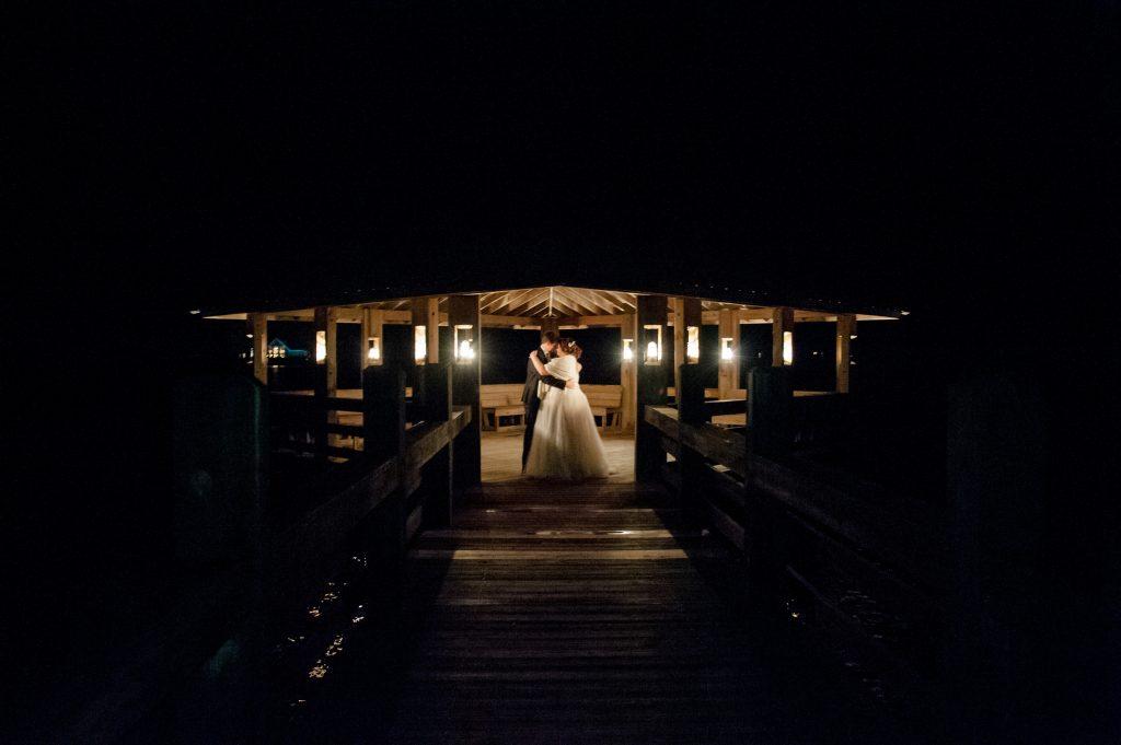 pepper plantation wedding dock at night