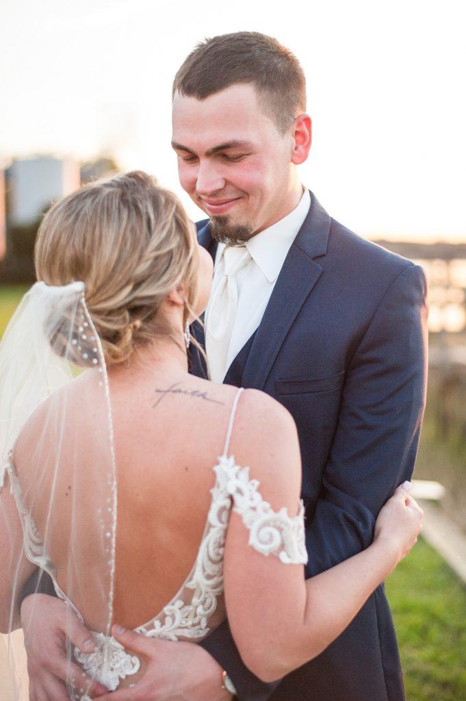 Bride and groom portrait by Charleston wedding photographer, Cameron Thomas