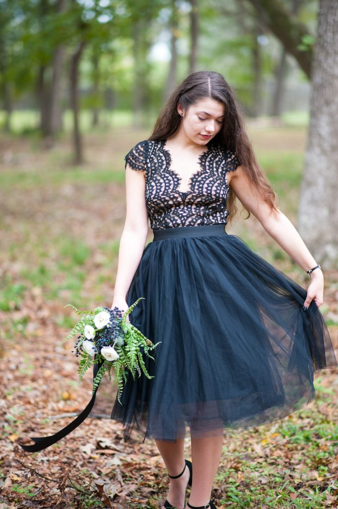 Girl in black lace dress with black tulle skirt at Colonial Dorchester State Historic Site at Halloween photo session