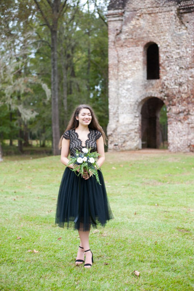 Colonial Dorchester State Historic Site Halloween photo shoot in front of bell tower ruins