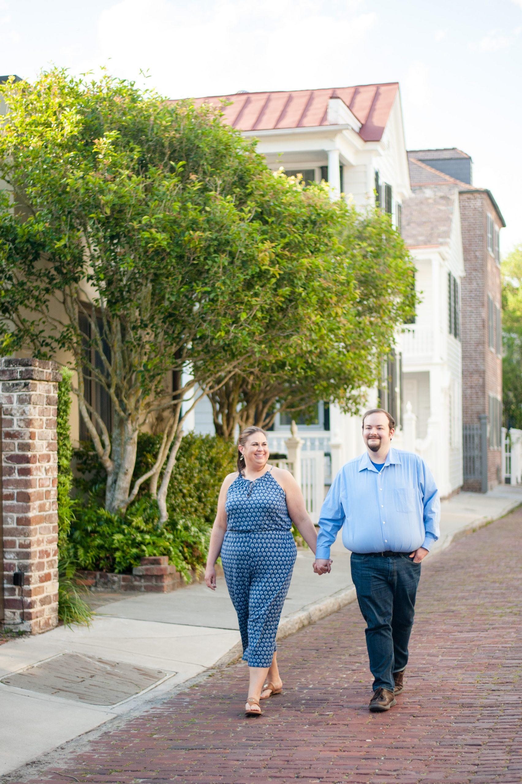 couple walking in downtown Charleston