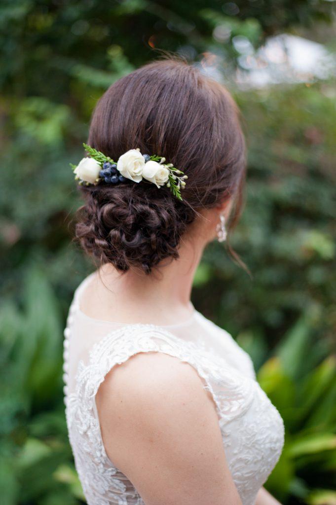 bride's fresh flower hairpiece at Seibels House wedding