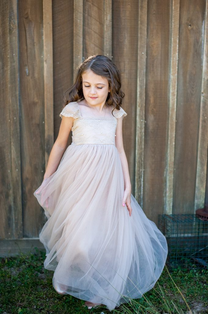 flower girl at barn wedding in Charleston