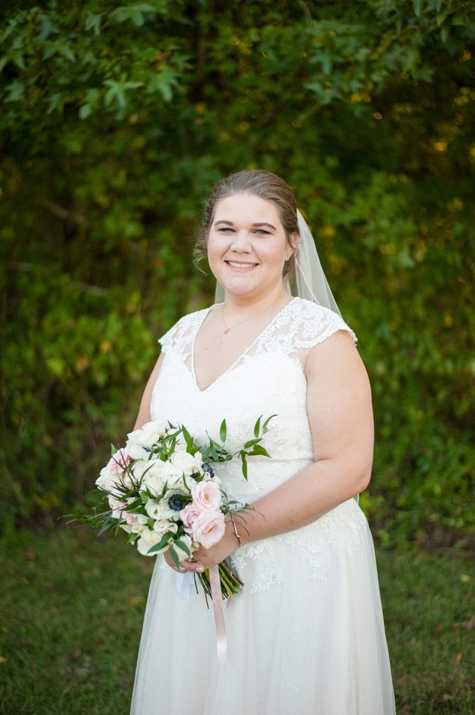 bride at barn wedding in Charleston
