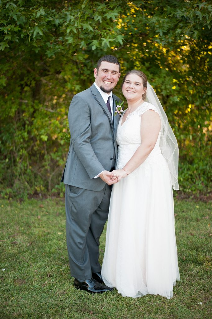 Bride and groom at barn wedding in Charleston