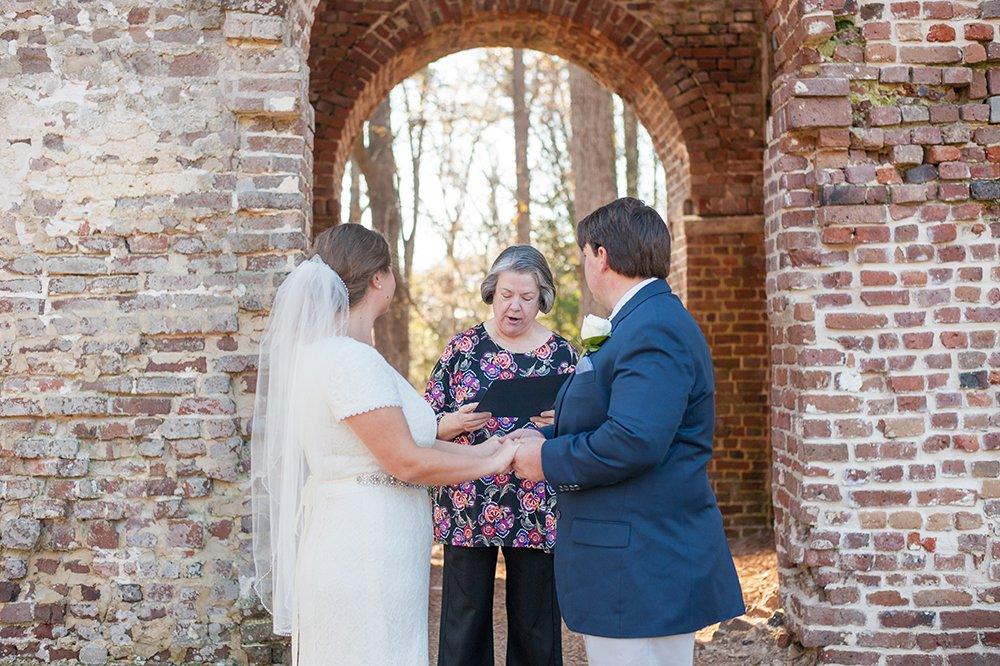 Colonial Dorchester State Historic Site wedding ceremony in Charleston, SC