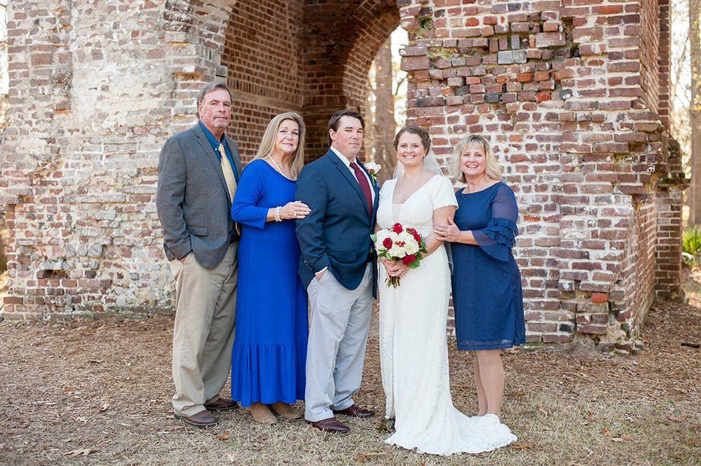 Colonial Dorchester State Historic Site wedding family photos in Charleston, SC