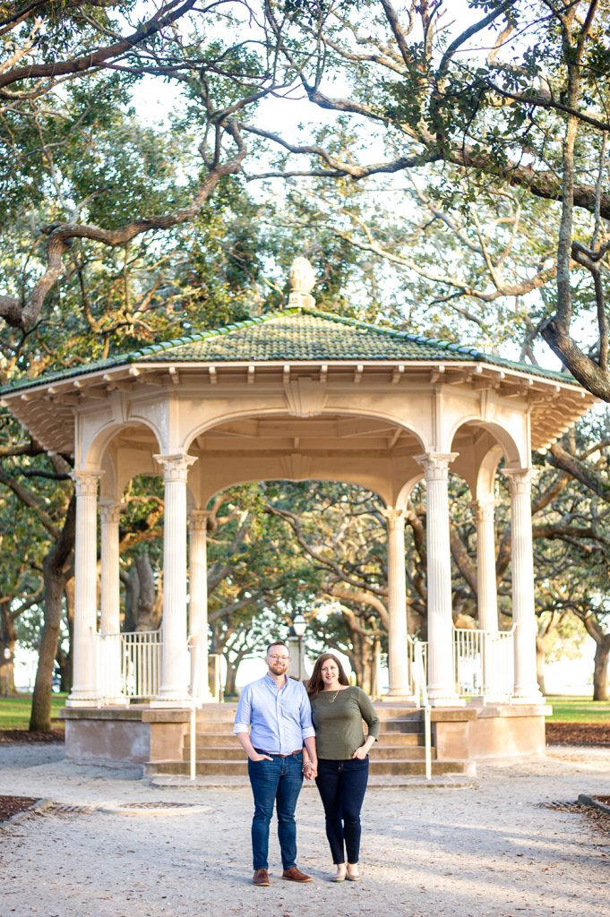 couples photography at the battery gazebo in Charleston, SC white point gardens