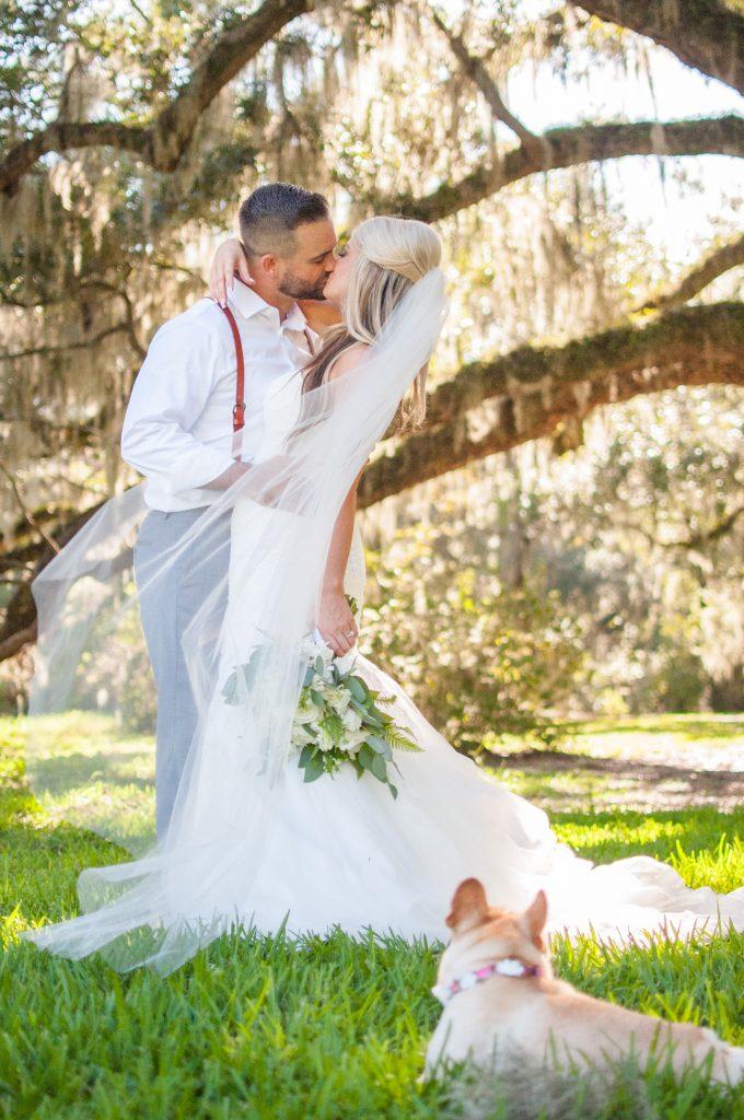 Magnolia Plantation wedding bride and groom photos with dog