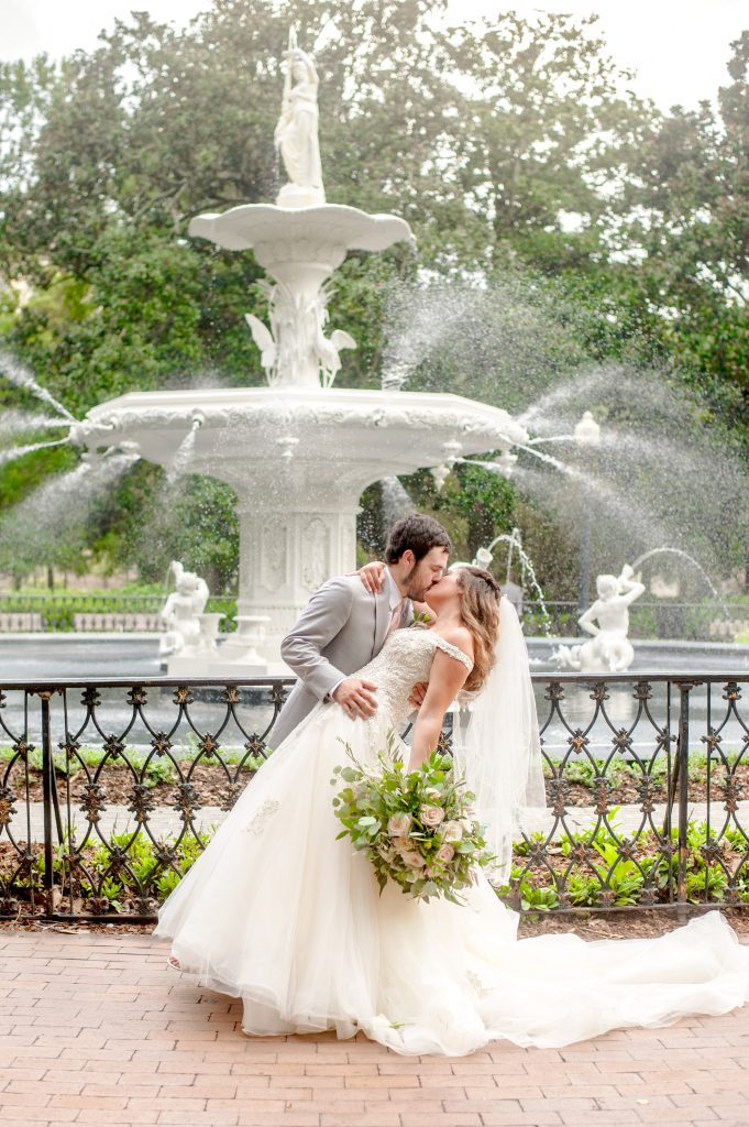 Wedding in front of Forsyth Park fountain in Savannah, GA