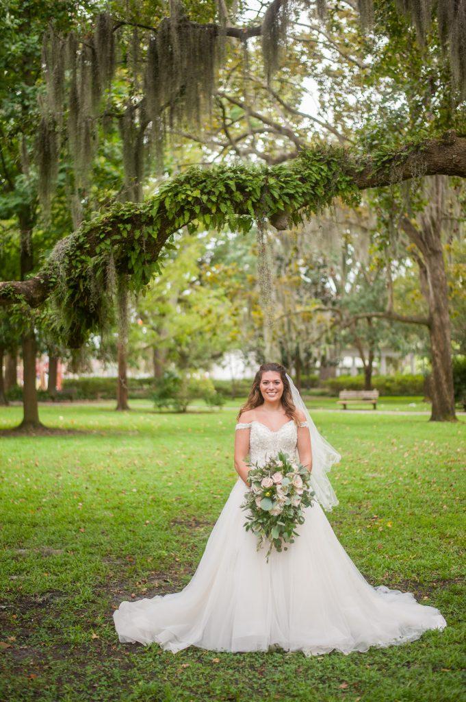 Forsyth Park elopement bridal portrait