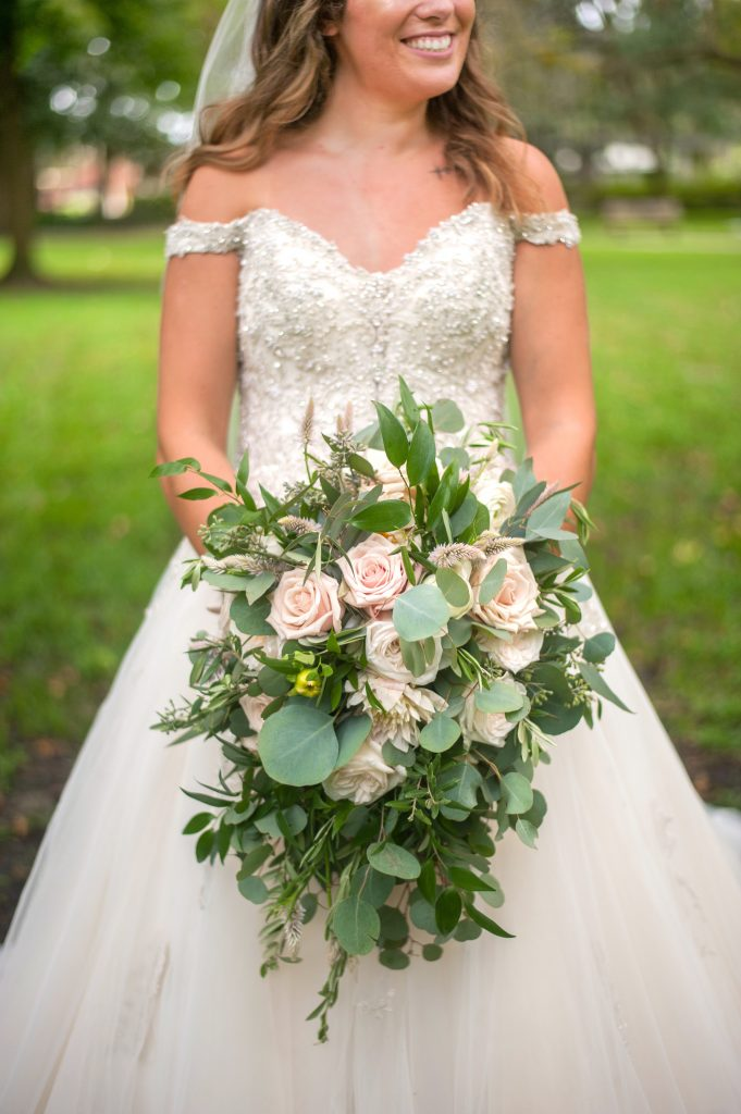 cascading bridal bouquet detail from Forsyth Park elopement in Savannah