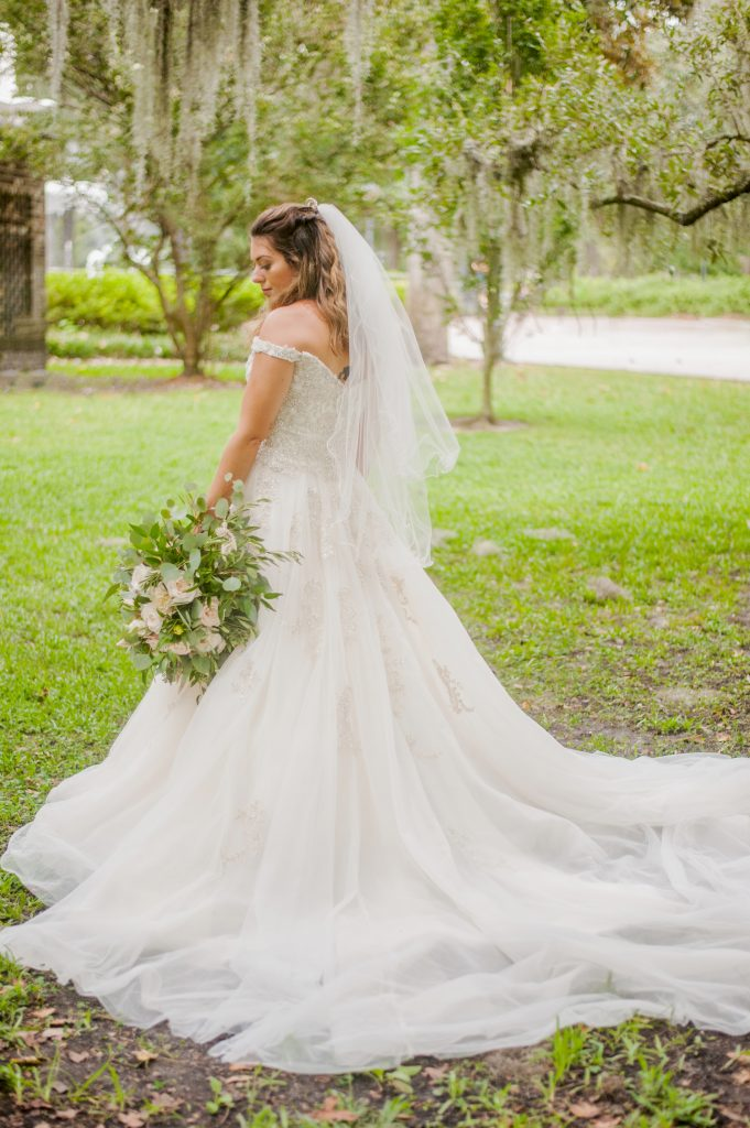bridal portrait in Forsyth Park in Savannah, GA