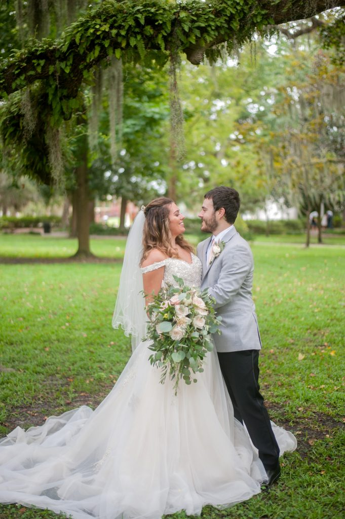 Bride and groom photo from Forsyth Park elopement in Savannah, GA