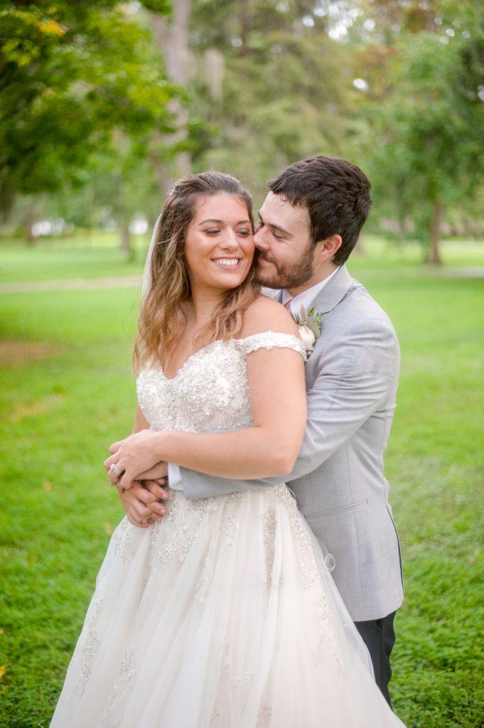 bride and groom in Forsyth Park