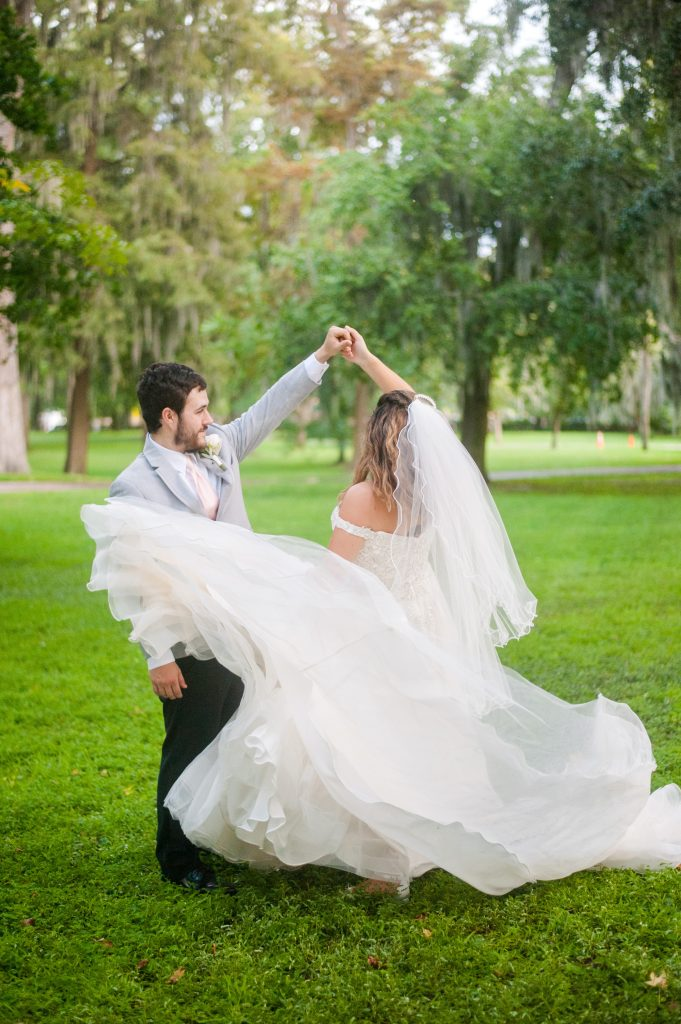 Elopement at Forsyth Park in Savannah bride and groom portrait