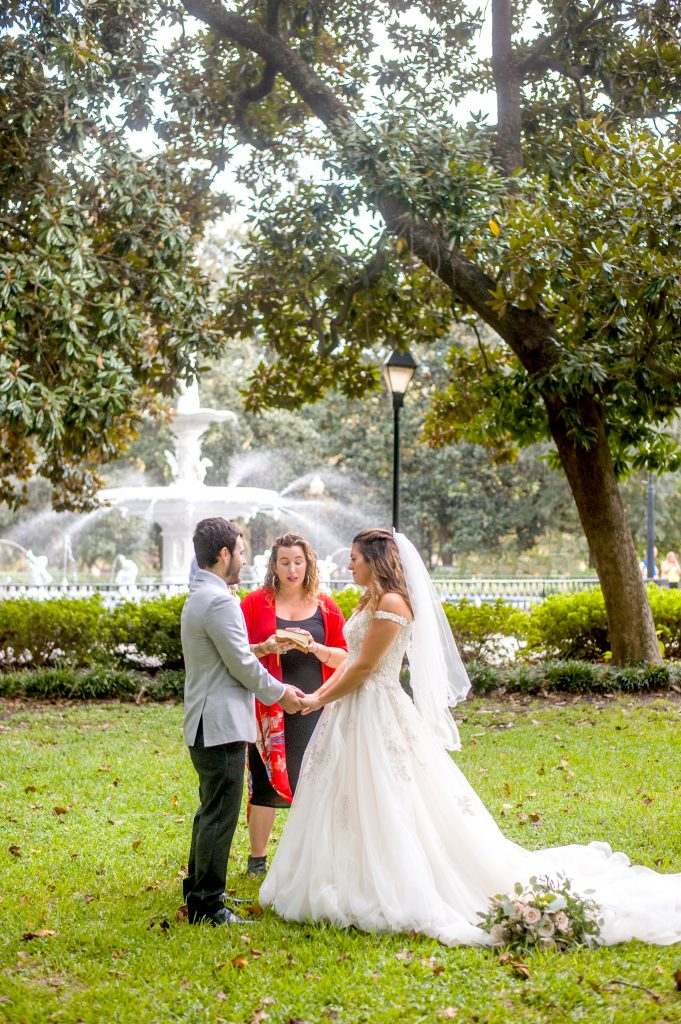Elopement Ceremony at Forsyth Park in Savannah in front of Forsyth Park fountain