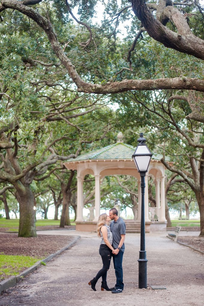engagement photos at White Point Garden in downtown Charleston, SC
