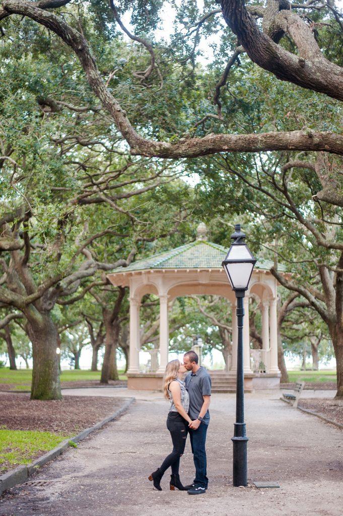 engagement photos at White Point Garden in downtown Charleston, SC