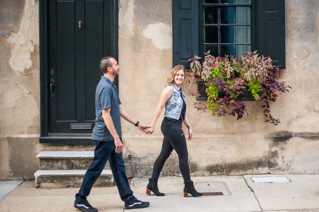 couple walking in downtown Charleston, SC