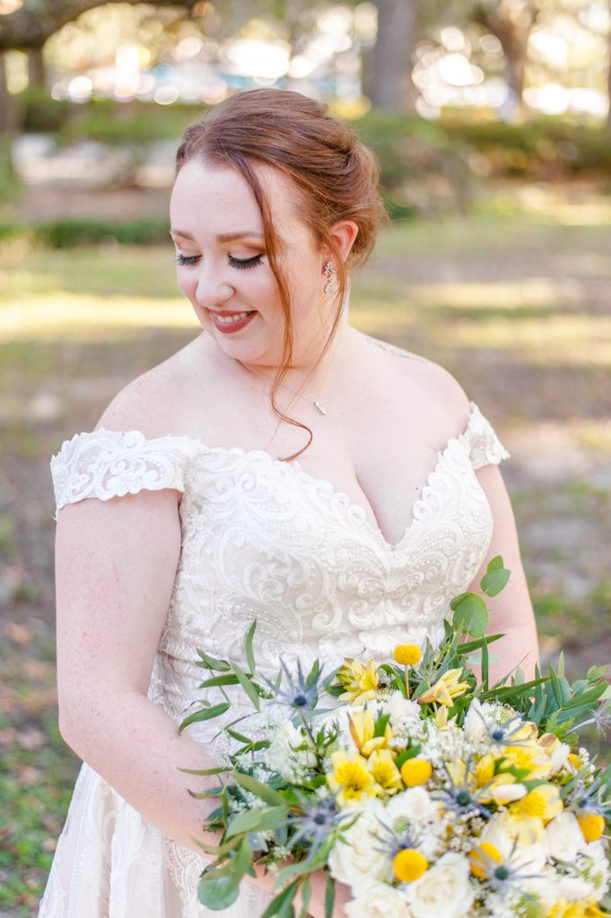 Savannah bride in Forsyth Park