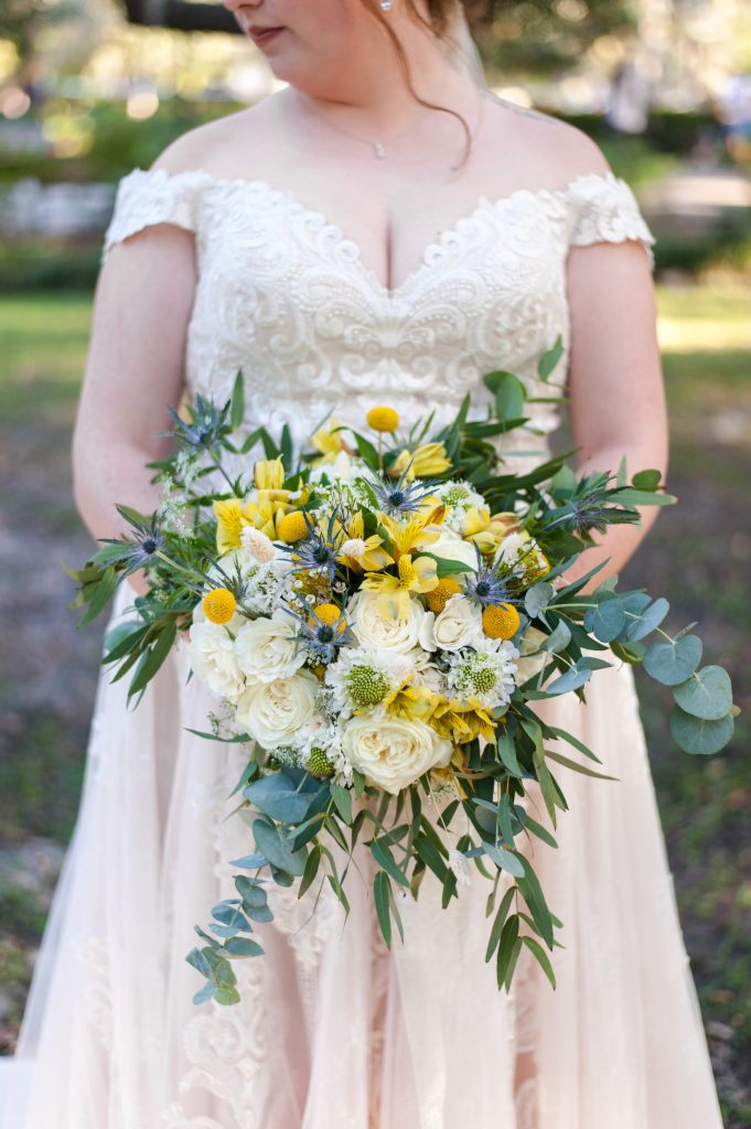 Magnolia & Fleur bouquet in Savannah, GA - Forsyth Park elopement photos