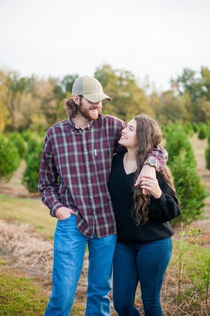 Couples photos at Lebanon Christmas Tree Farm