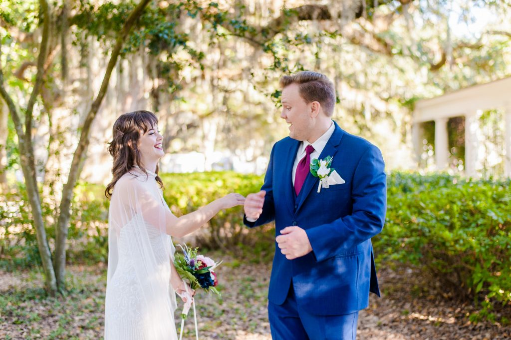 Bride and groom first look in Forsyth Park