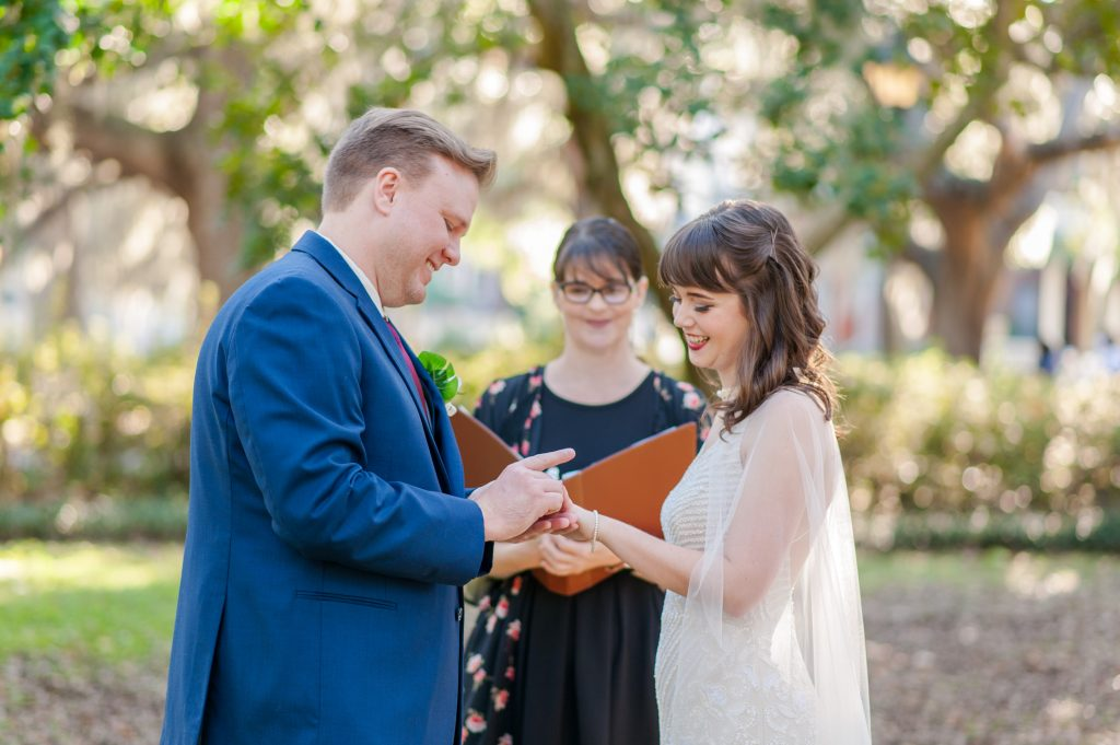 savannah elopement in Forsyth Park
