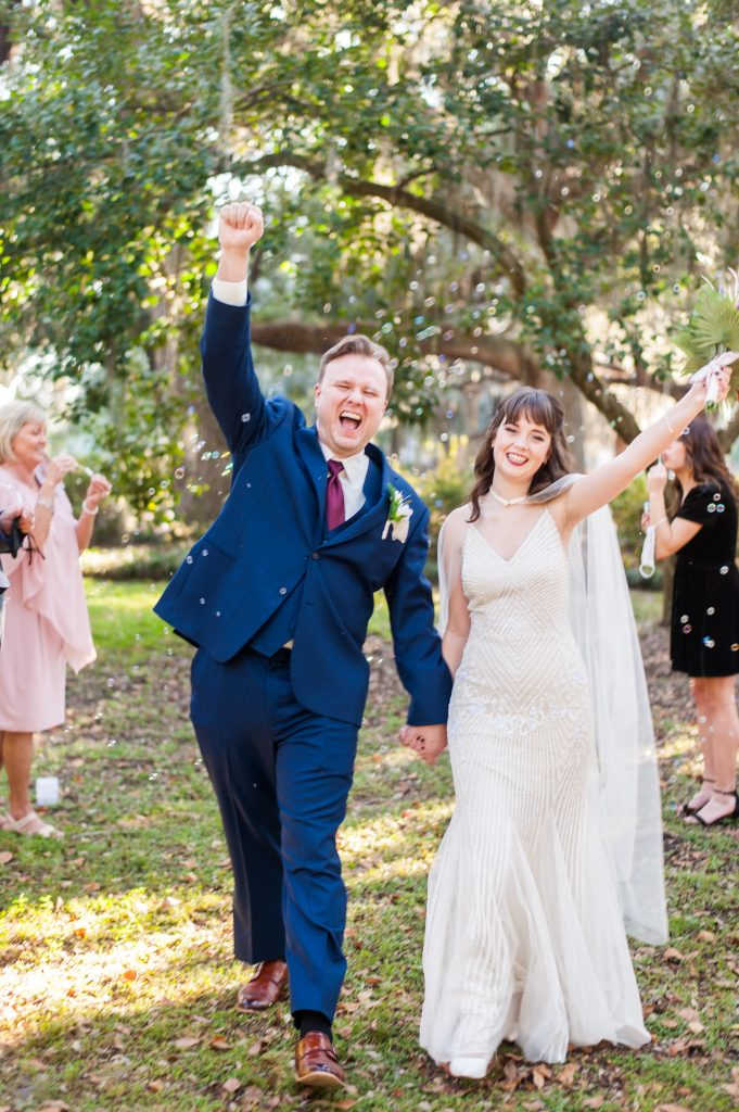 bubble ceremony exit in Forsyth Park elopement