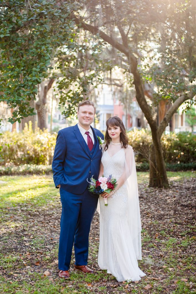 bride and groom photo in Forsyth Park, Savannah, GA
