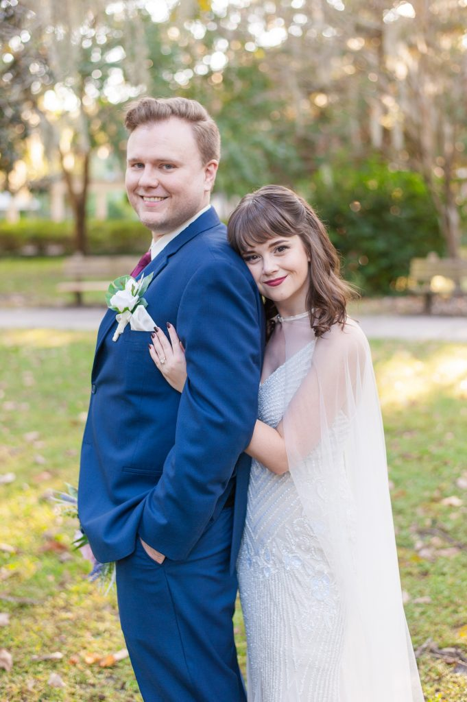 Forsyth Park elopement in Savannah, GA bride and groom portrait