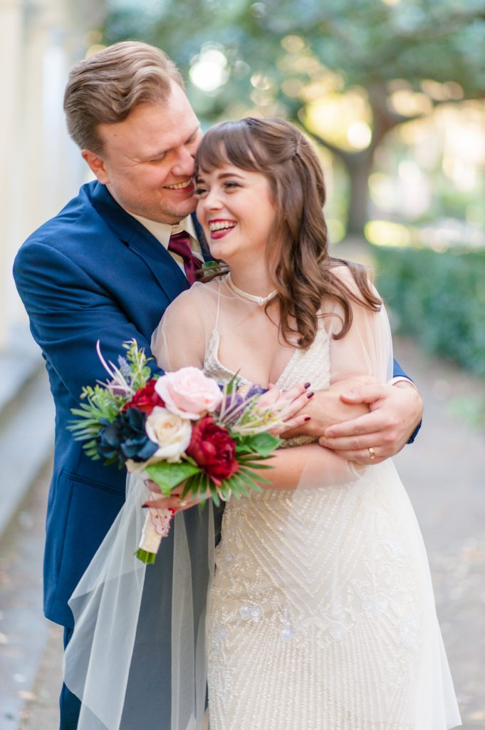 Savannah elopement at Forsyth Park Fragrance Garden