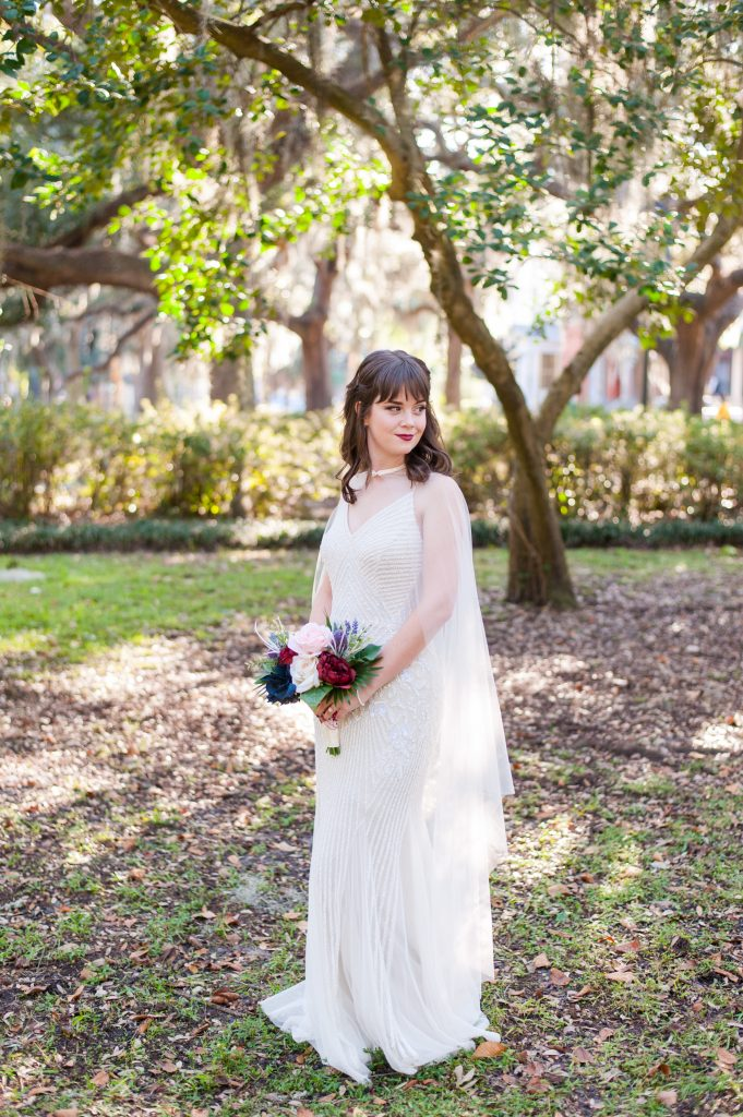 bride in Forsyth Park in Savannah, GA