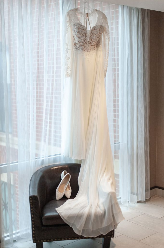 wedding dress portrait at Upstairs at Midtown wedding Charleston, SC