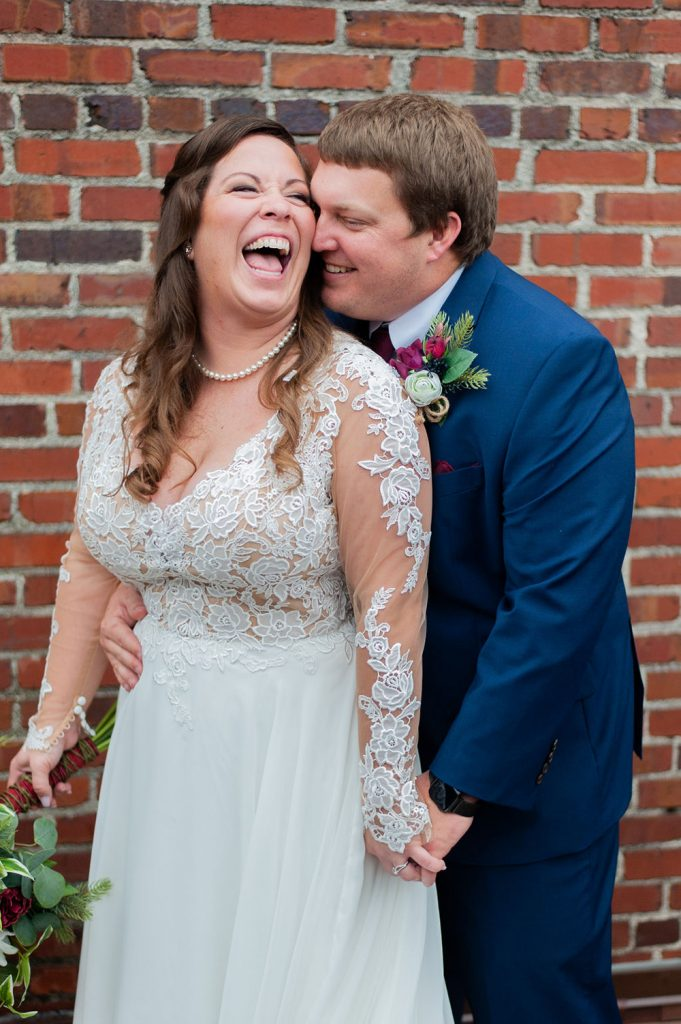 bride and groom portrait at upstairs at midtown wedding in Charleston, SC