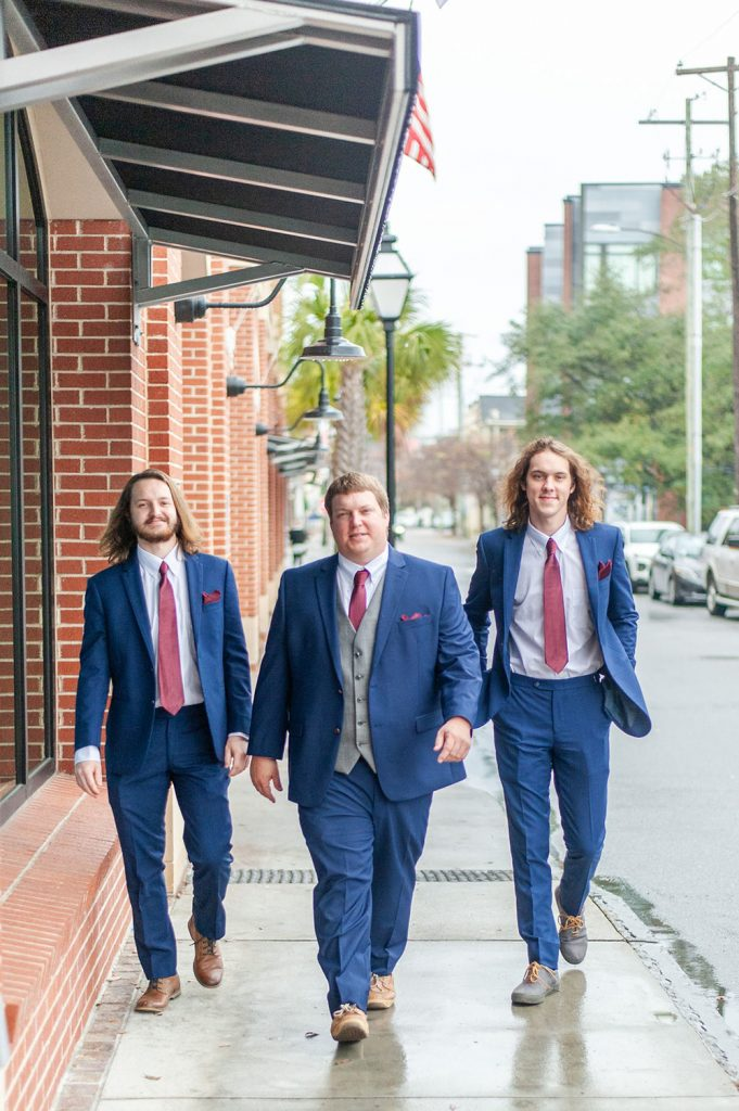 Groom and groomsmen portraits before Upstairs at Midtown wedding