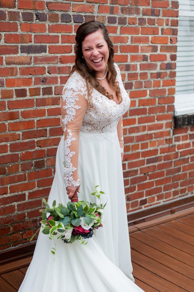 bride portrait at upstairs at midtown wedding in Charleston, SC