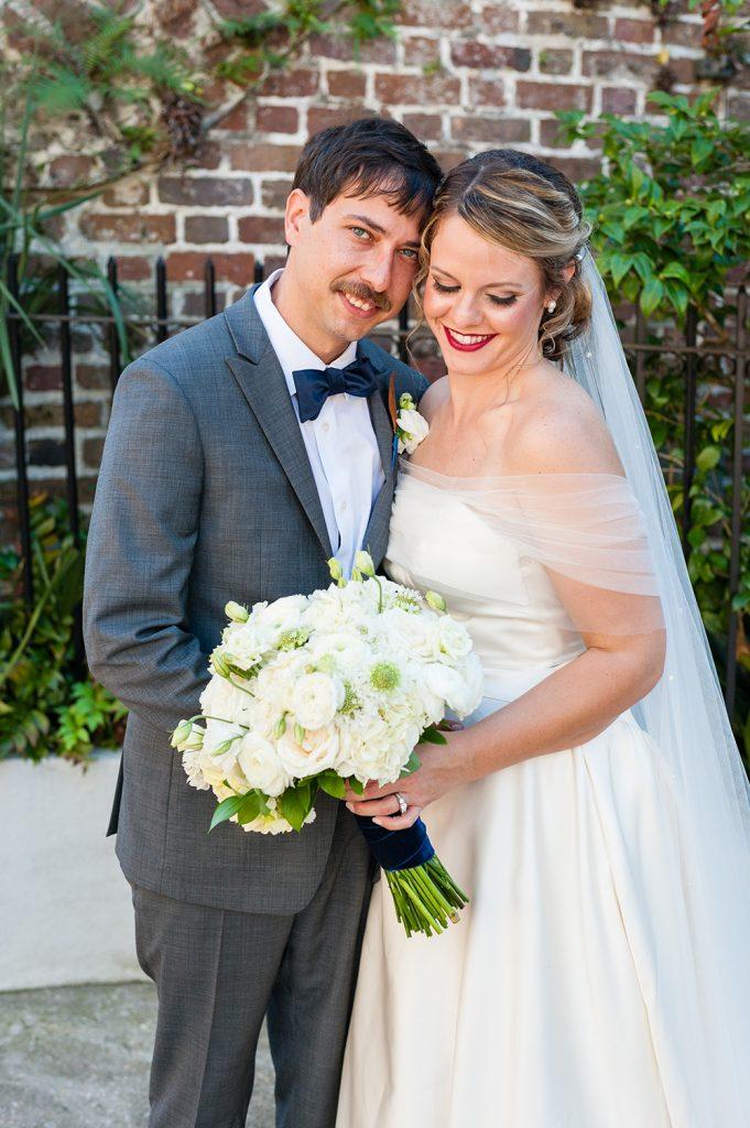 bride and groom portrait wedding in downtown Charleston