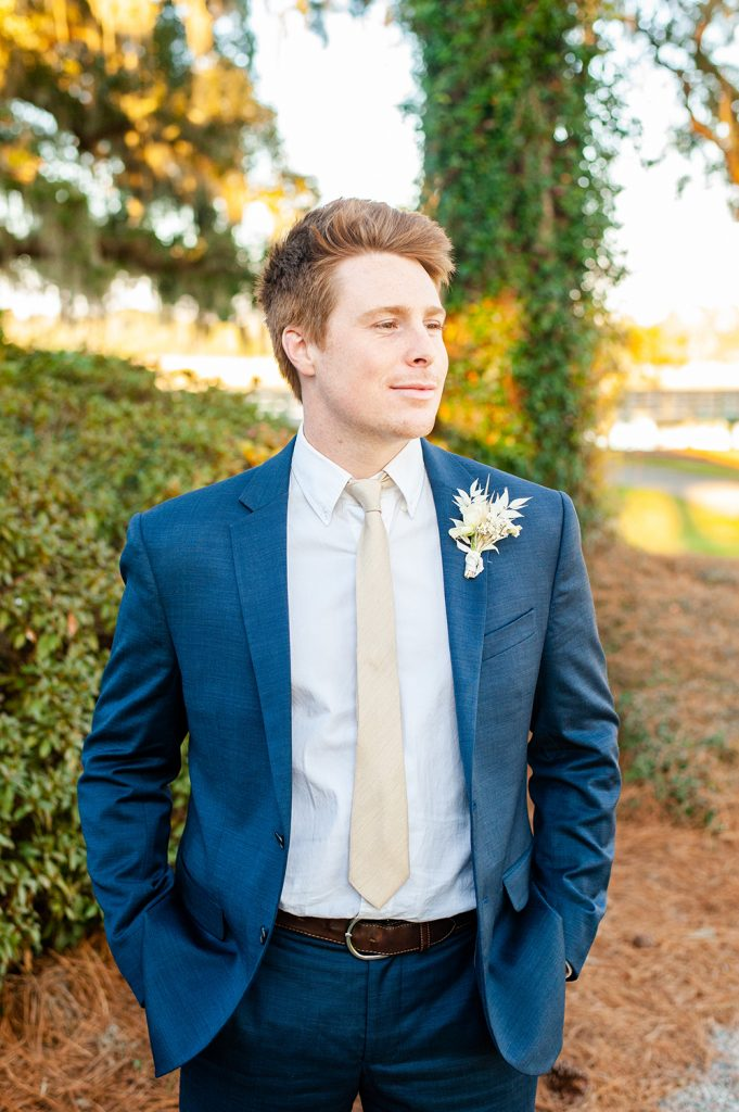 Groom portrait - elopement at Oldfield Club in SC