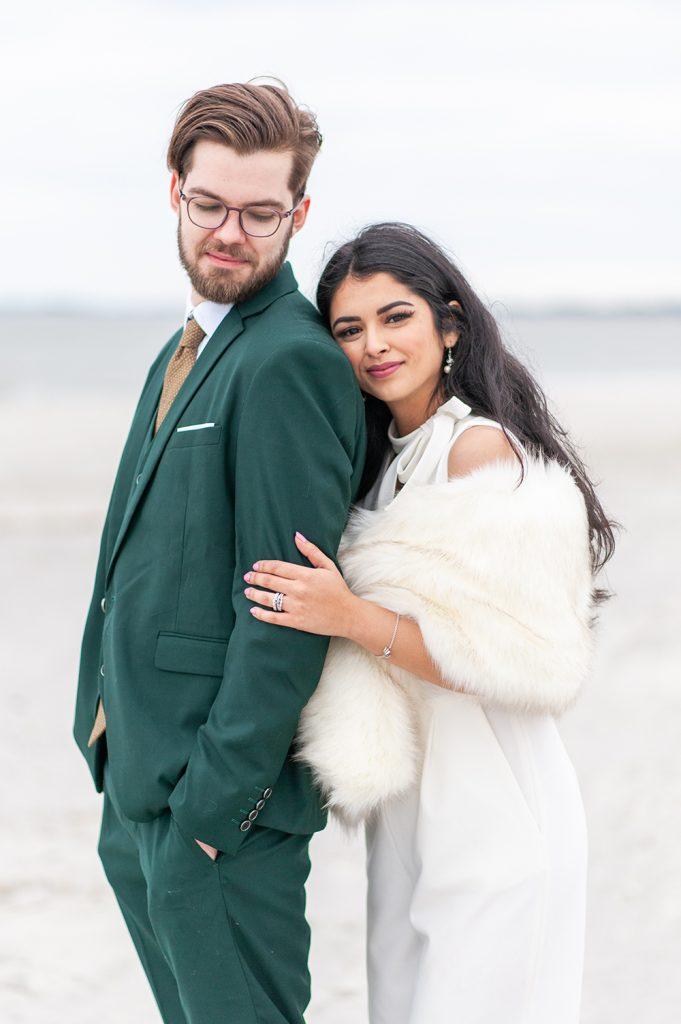 bride and groom on Folly Beach